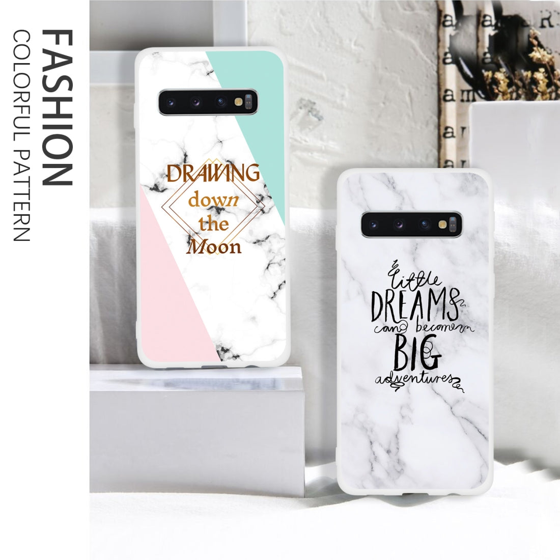 Dream Text Matte Semi-transparent TPU Marble Phone Case for Galaxy S10  Plus