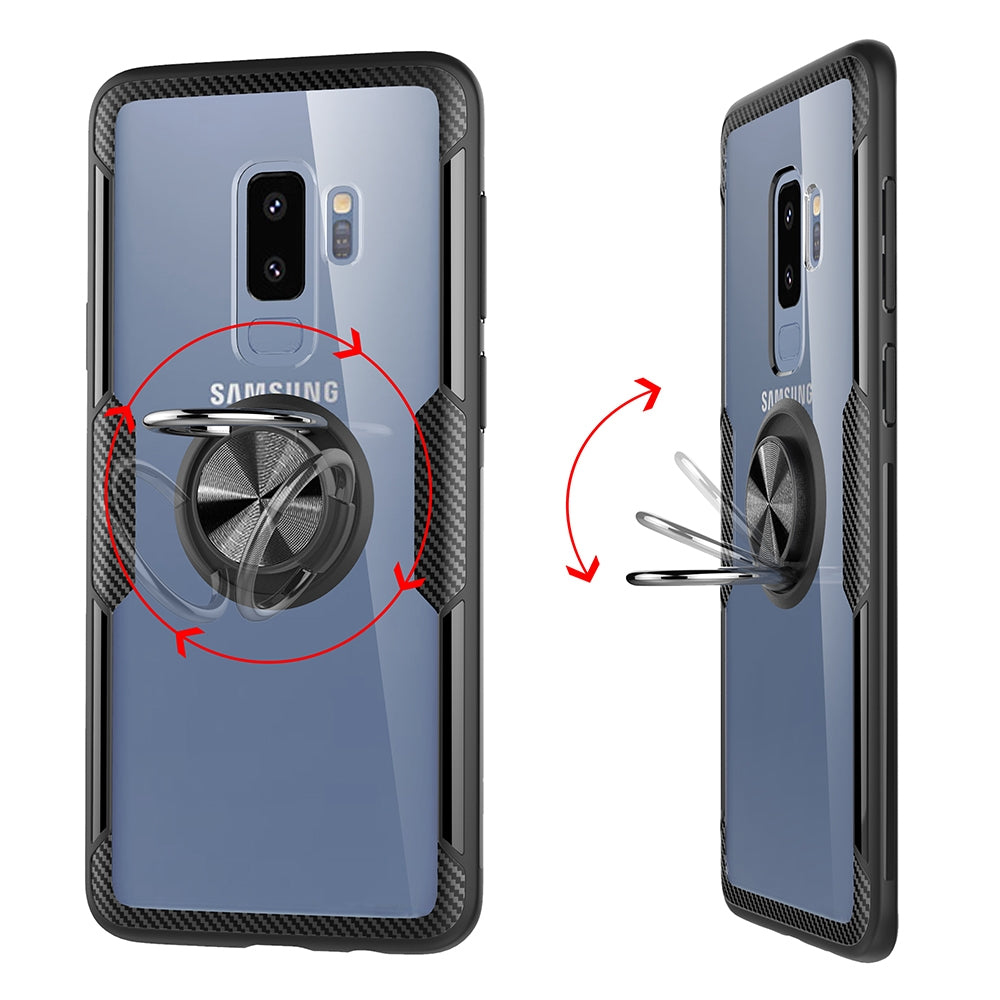 Scratchproof TPU + Acrylic Ring Bracket Protective Case for Galaxy S9 Plus(Black)