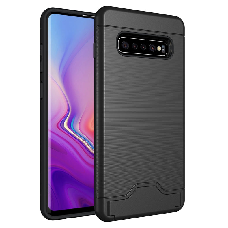 Ultra-thin TPU+PC Brushed Texture Shockproof Protective Case for Galaxy S10+, with Holder & Card Slot (Black)