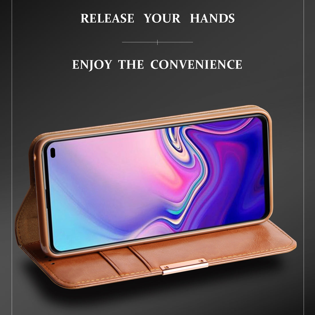 DZGOGO ROYALE II Series Magnetic Horizontal Flip Genuine Leather Case for Galaxy S10 Plus, with Card Slots & Holder (Red)