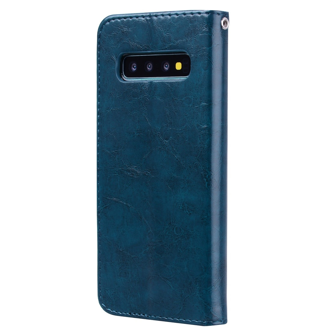 Business Style Oil Wax Texture Horizontal Flip Leather Case for Galaxy S10 Plus, with Holder & Card Slots & Wallet (Blue)