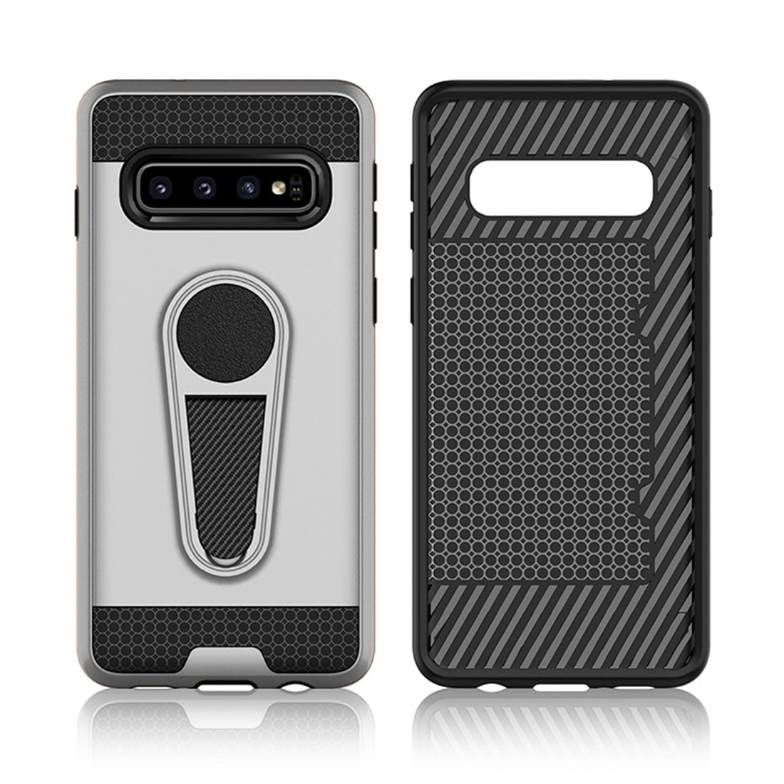 Shockproof Armor TPU + PC Protective Case for Galaxy S10 Plus, with Holder (Black)