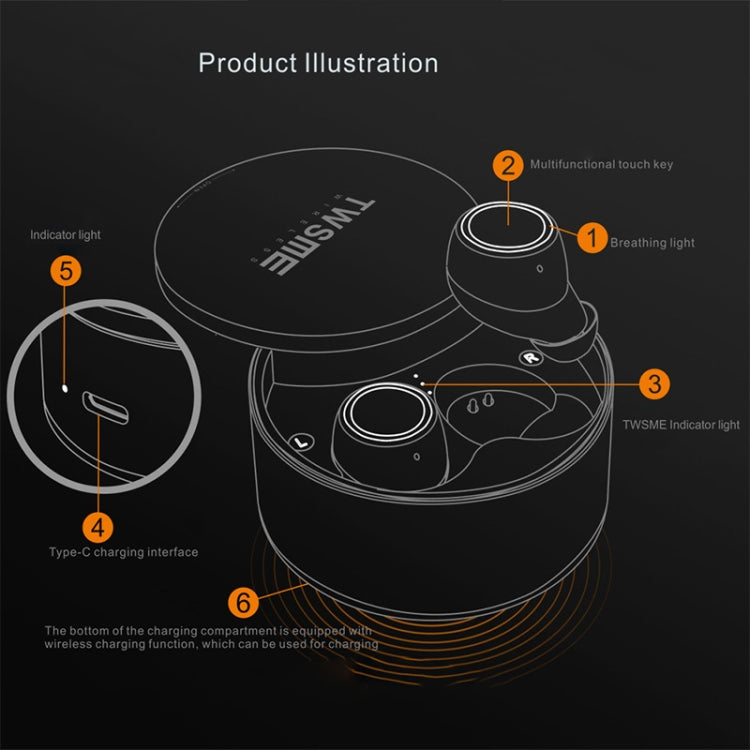 V6 Bluetooth Earphone TWS Wireless Headset Bluetooth 5.0 Handsfree Sport Earphones with Charging Box(Silver)