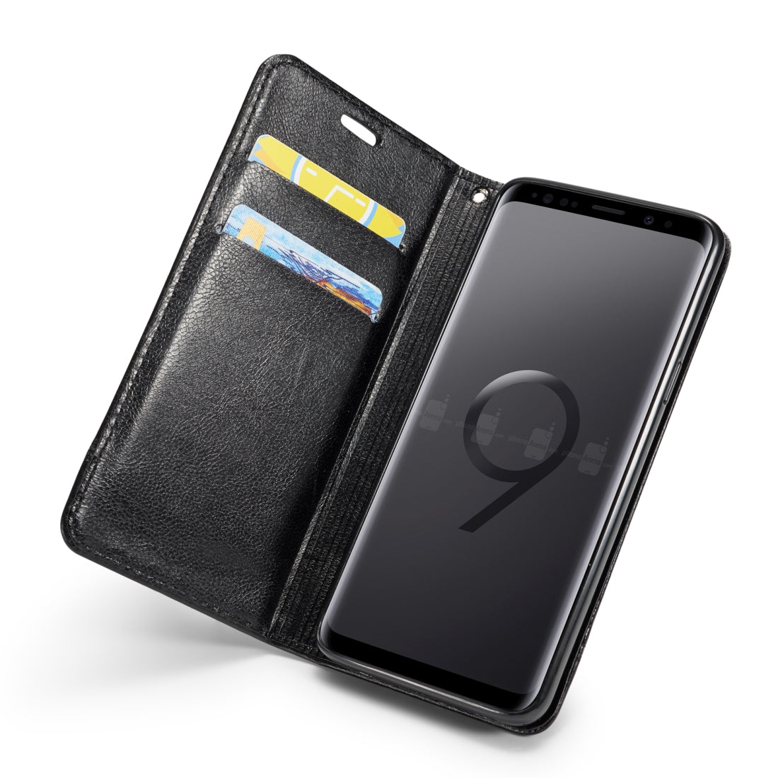 Double-sided Absorption Splicing Horizontal Flip Leather Case for Galaxy S9 Plus, with Holder & Card Slots & Lanyard (Black)