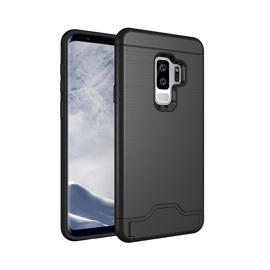 For Galaxy S9+ Brushed Texture Protective Back Case with Holder & Card Slot(Black)