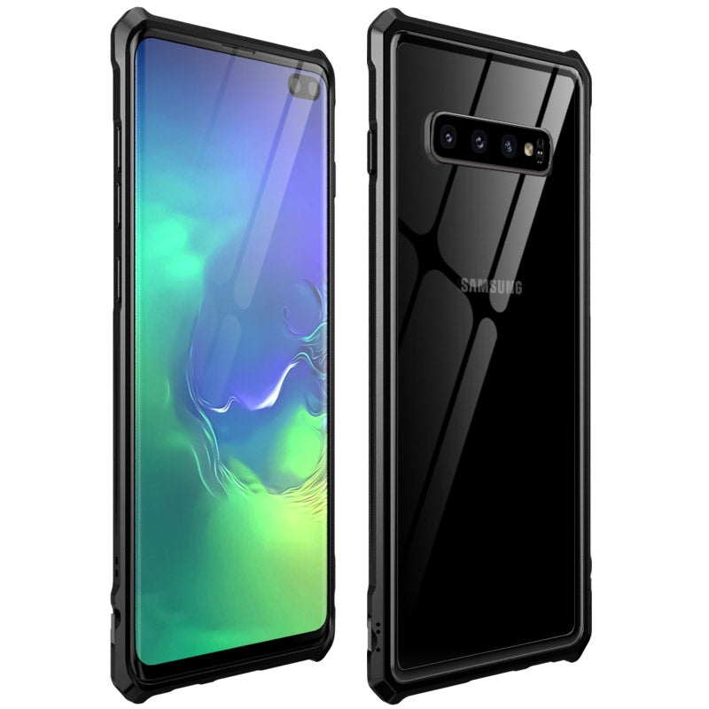 Snap-on Aluminum Frame and Tempered Glass Back Plate Case for Galaxy S10 Plus(Black)
