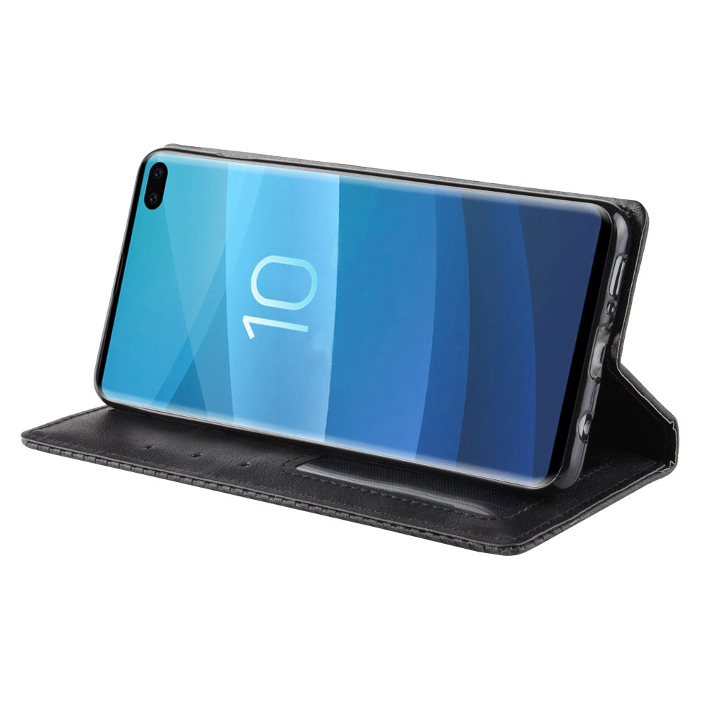 Magnetic Buckle Retro Texture Horizontal Flip Leather Case for Galaxy S10+, with Holder & Card Slots & Wallet (Black)