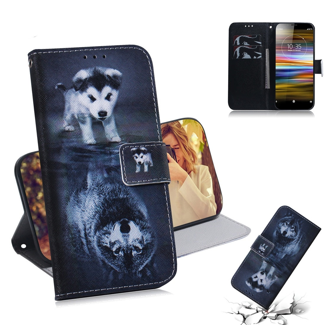 Wolf and Dog Pattern Coloured Drawing Horizontal Flip Leather Case for Sony Xperia L3, with Holder & Card Slots & Wallet
