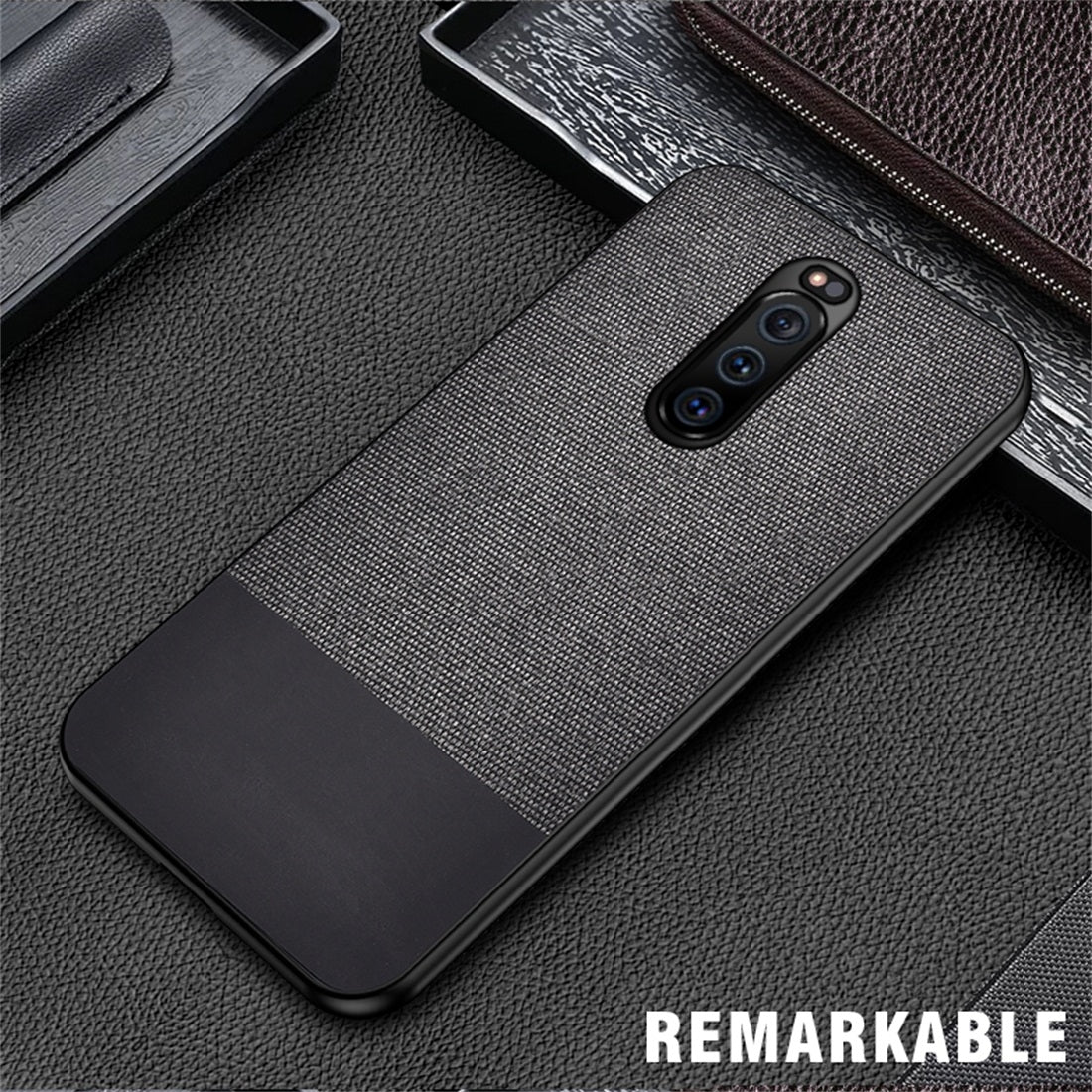 Shockproof Splicing PU + Cloth Protective Case for Sony Xperia 1 (Black)