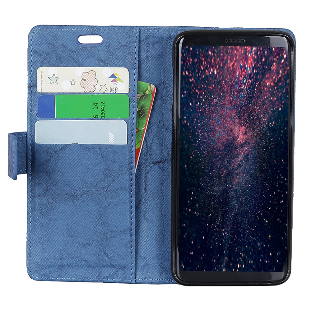Copper Buckle Retro Crazy Horse Texture Horizontal Flip Leather Case for Sony Xperia 10, with Holder & Card Slots & Wallet(Blue)