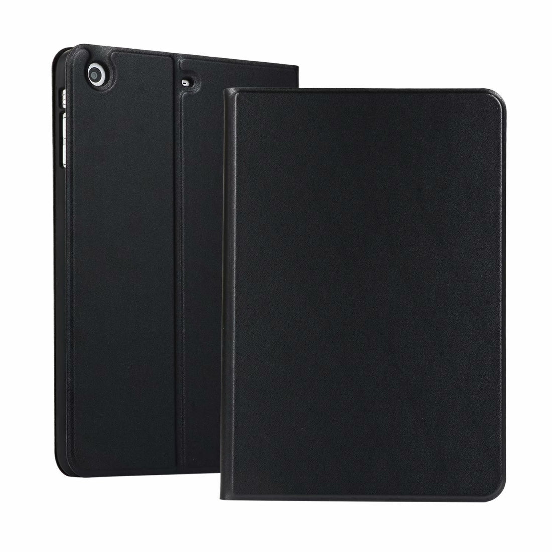 left and right solid color elastic leather case for iPad Mini 1 / Mini 2 / Mini 3  with stand with sleep function, TPU soft shell bottom case(Black)