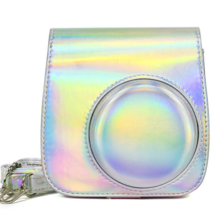 Aurora Oil Paint Full Body Camera PU Leather Case Bag with Strap for FUJIFILM instax mini 9 / mini 8+ / mini 8(Silver)