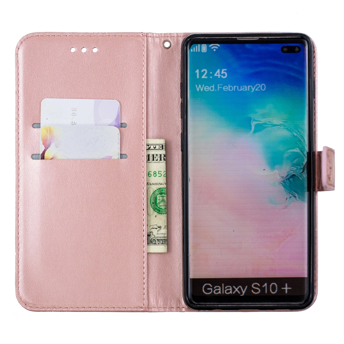 Diamond Encrusted Butterflies Love Flowers Pattern Horizontal Flip Leather Case for Galaxy S10 Plus , with Holder & Card Slots & Wallet & Lanyard(Butterfly Rose Gold)