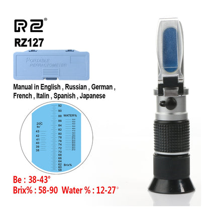 High Concentration Brix Be Water 3 in 1 58%~92% Honey Refractometer Bees Sugar Food ATC RZ127