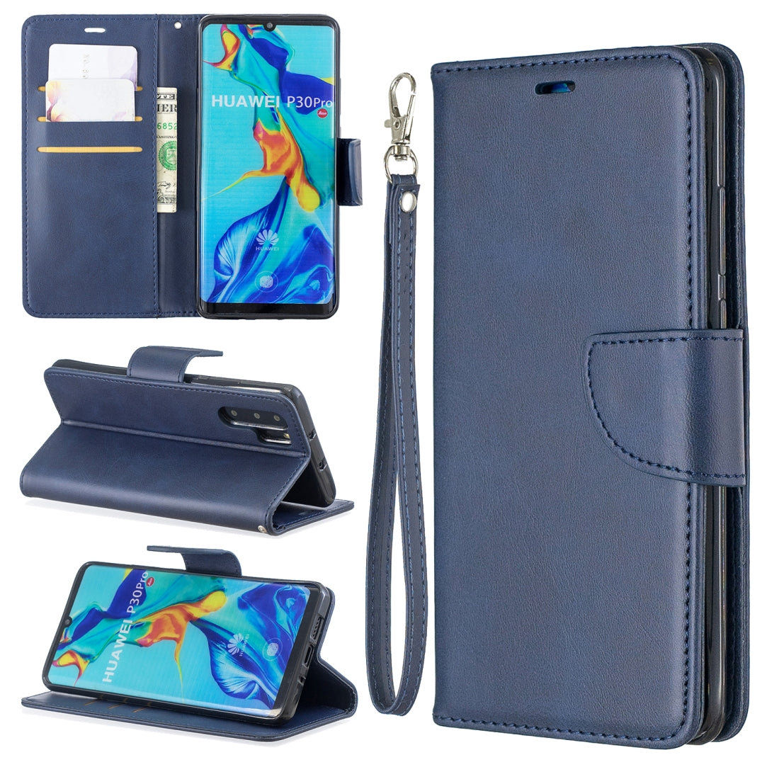Retro Lambskin Texture Pure Color Horizontal Flip PU Leather Case for Huawei P30 Pro, with Holder & Card Slots & Wallet & Lanyard(Blue)