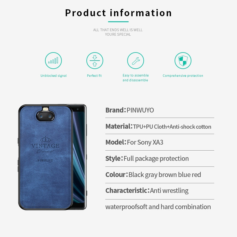 PINWUYO Shockproof Waterproof Full Coverage TPU + PU Cloth+Anti-shock Cotton Protective Case for Sony Xperia 10 / Xperia XA3(Red)