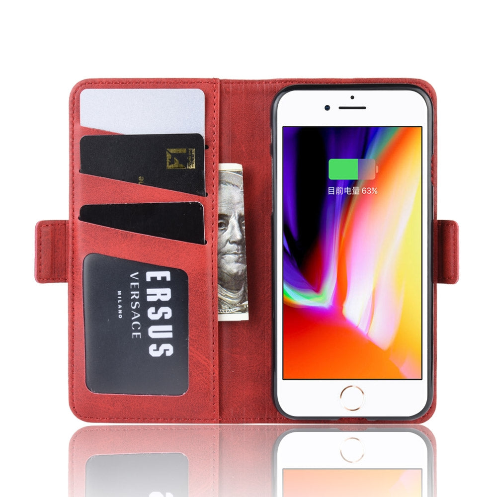 Dual-side Magnetic Buckle Horizontal Flip Leather Case for iPhone 8 /  7, with with Holder & Card Slots & Wallet & Photo Frame(Red)
