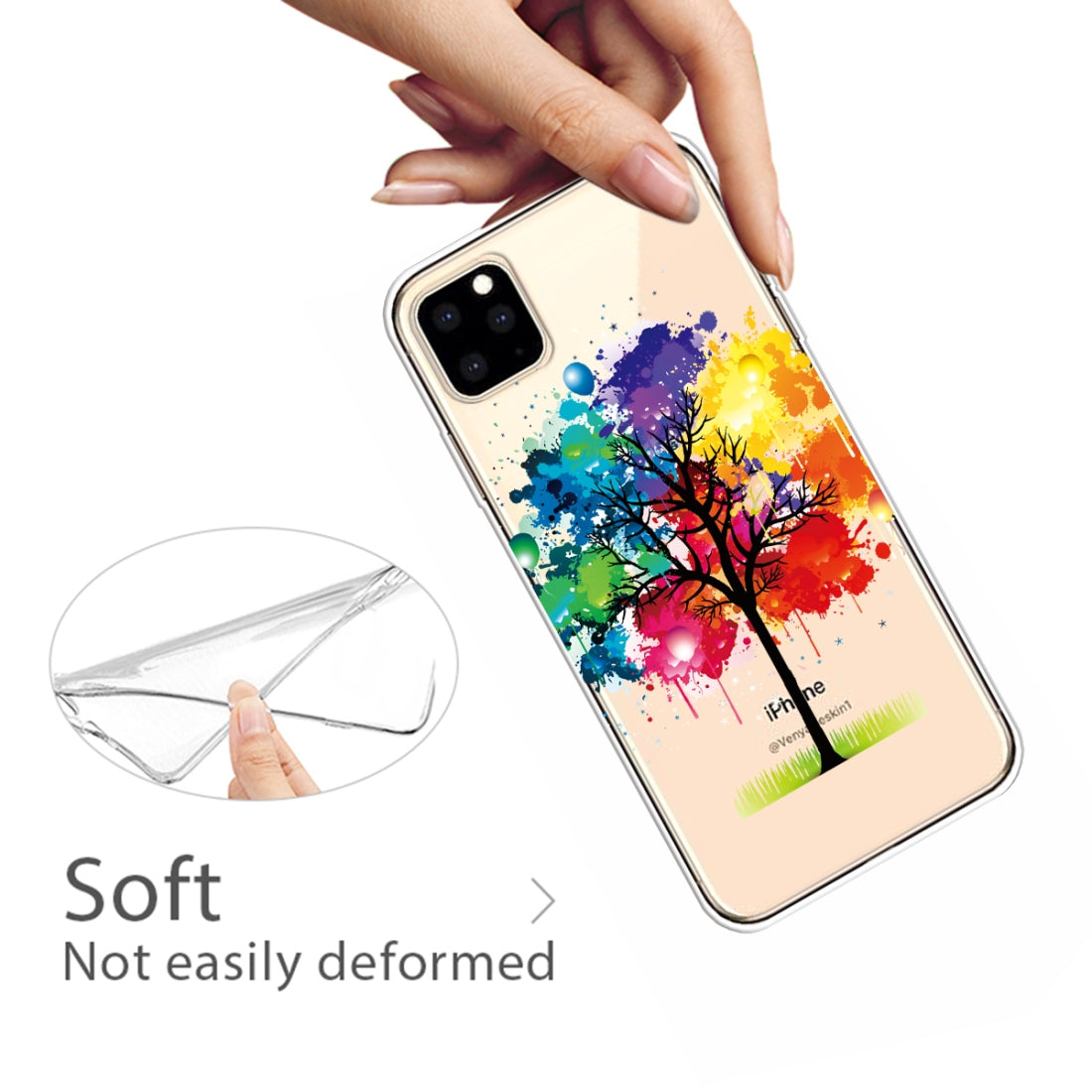 Pattern Printing Soft TPU Cell Phone Cover Case for iPhone 11(Painting tree)