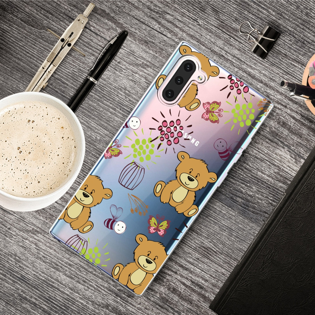 Pattern Printing Soft TPU Cell Phone Cover Case For Galaxy Note10(Little Brown Bear)