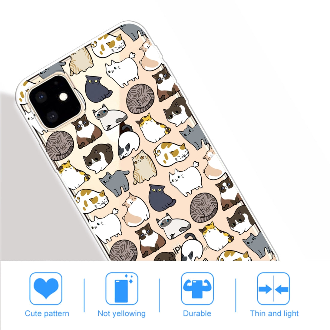 3D Pattern Printing Soft TPU Cell Phone Cover Case For iPhone 11(Minicat)