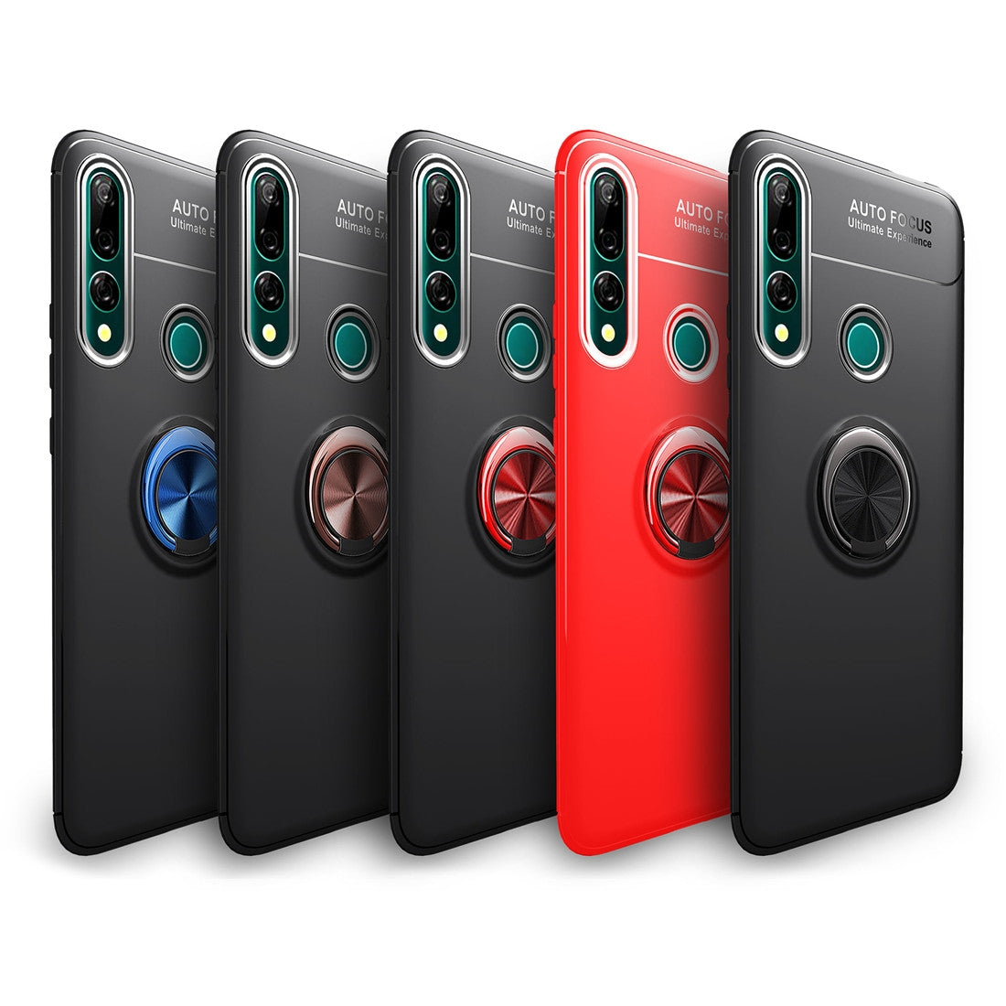 Metal Ring Holder 360 Degree Rotating TPU Case for Huawei Y9 Prime 2019(Red+Red)