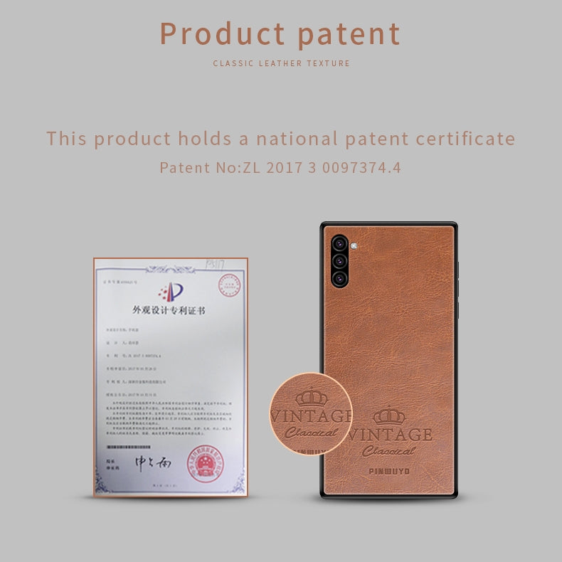 For Galaxy Note10 PINWUYO Pin Rui Series Classical Leather, PC + TPU + PU Leather Waterproof And Anti-fall All-inclusive Protective Shell(Red)