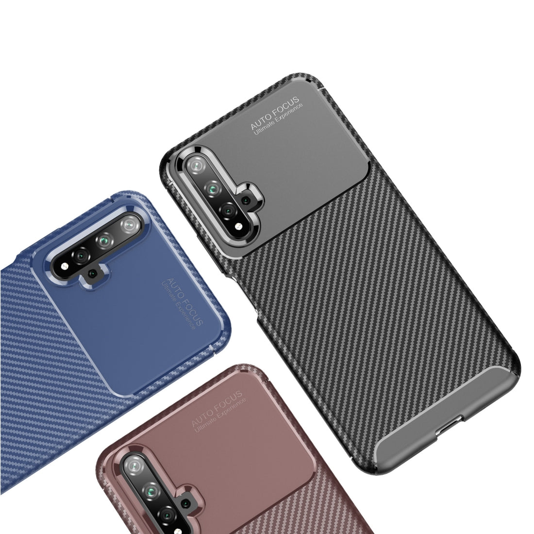 For Huawei Nova 5T Carbon Fiber Texture Shockproof TPU Case for(Brown)