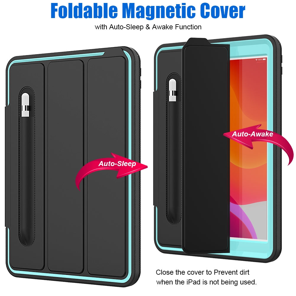 For iPad 10.2     Magnetic Horizontal Flip Protective Case with Three-folding Holder & Sleep / Wake-up Function & Pen Slots(Light Blue)