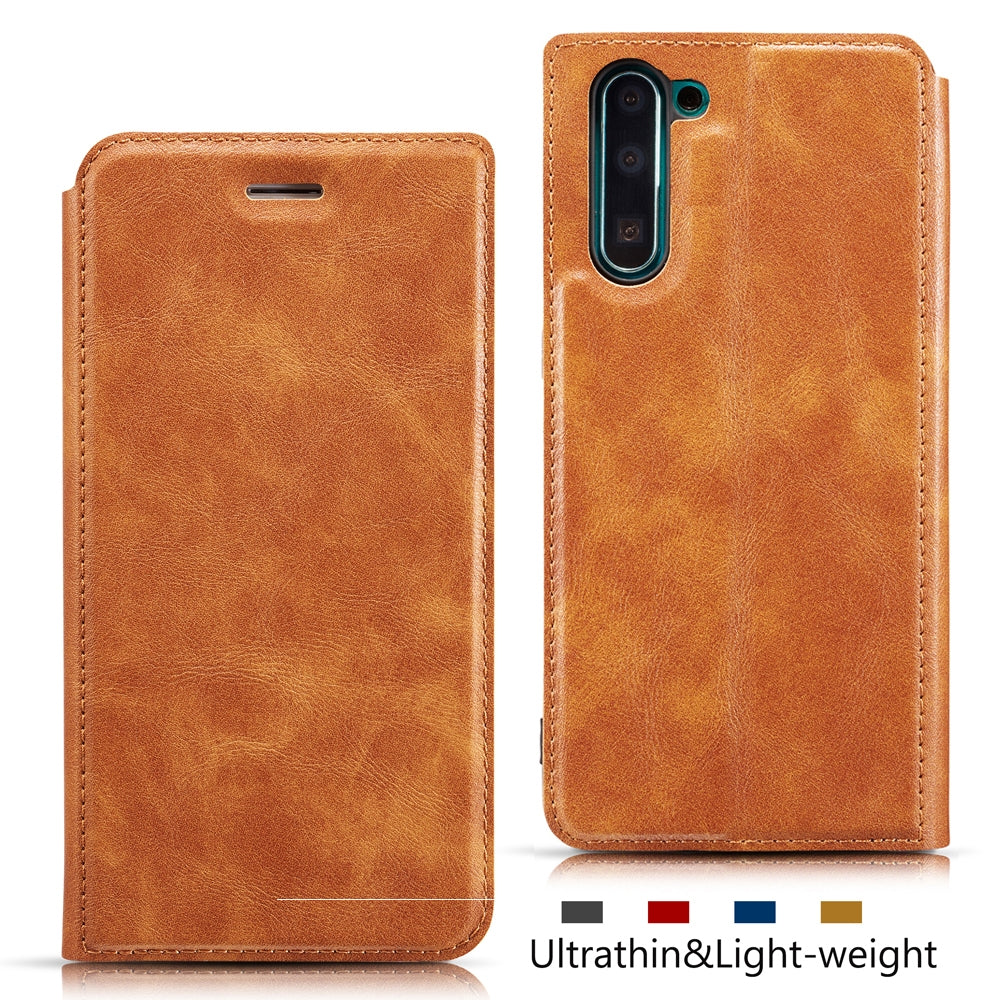 For Galaxy Note10 Retro Simple Ultra-thin Magnetic Leather Case with Holder & Card Slots & Lanyard(Brown)