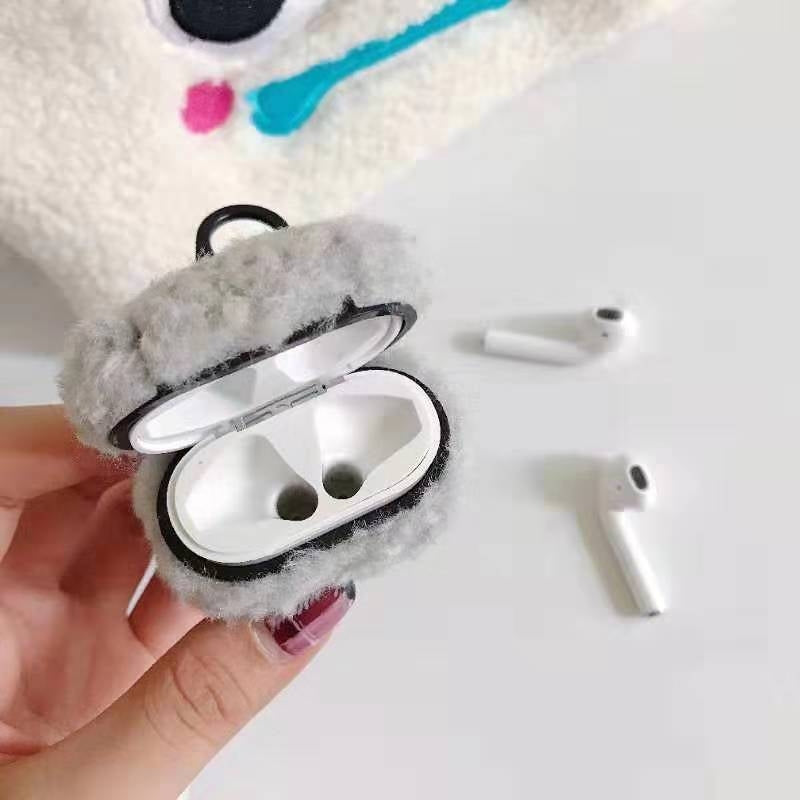 For Apple AirPods1/2  Plush Bluetooth Headphone Protective Case(Deep Gray)