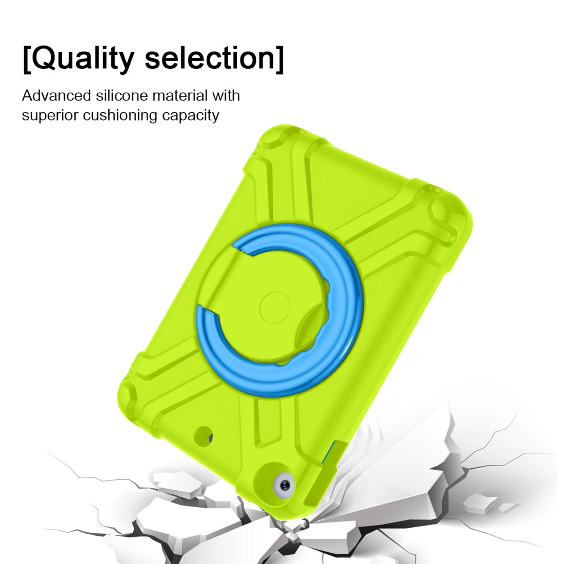 For iPad MINI 4/5 EVA + PC Flat Protective Shell with 360 ° Rotating Bracket(Grass Green+Blue)