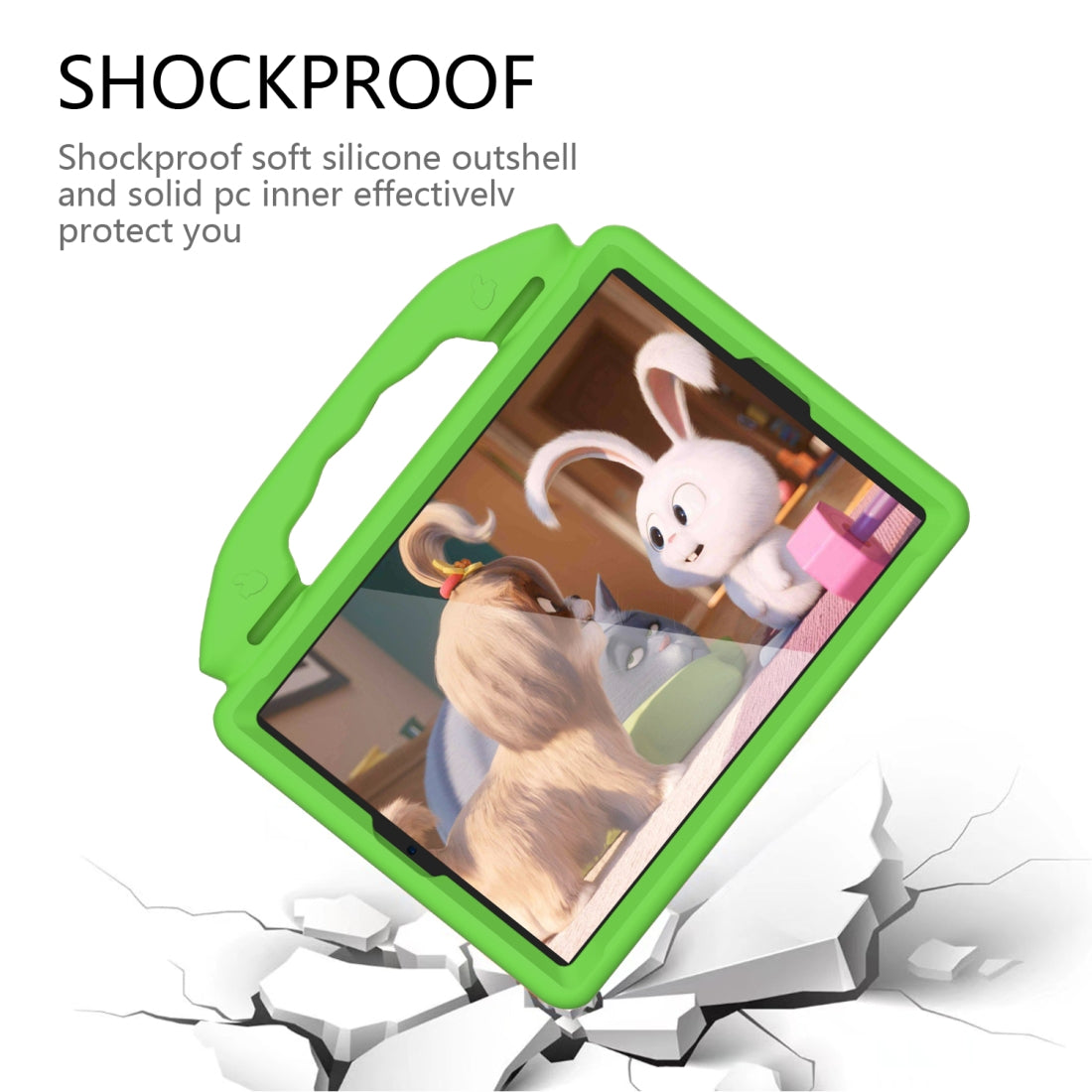 For iPad 10.2  EVA Flat Anti Falling Protective Shell with Thumb Bracket(Green)