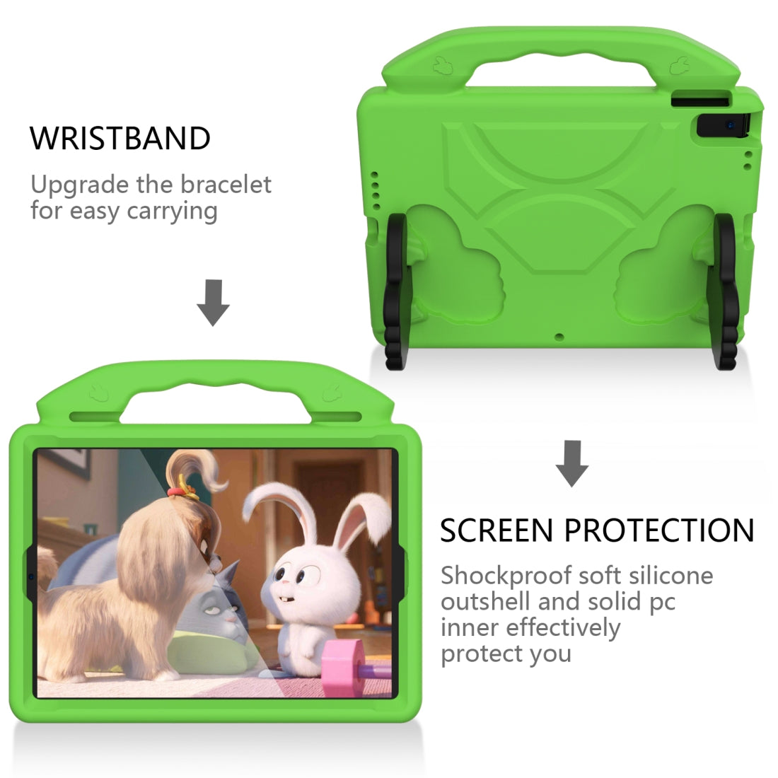 For iPad Air3 10.5  inch EVA Flat Anti Falling Protective Shell with Thumb Bracket(Green)