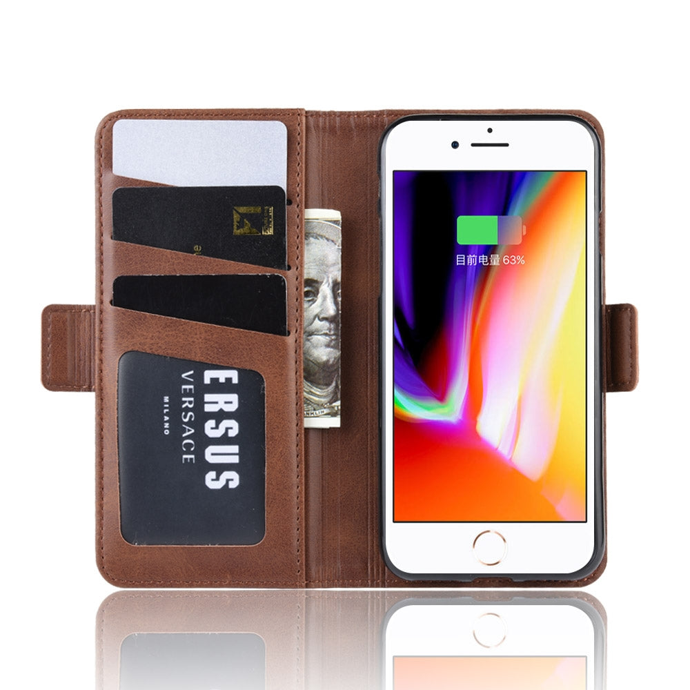 For iPhone 8 / 7 Double Buckle Crazy Horse Business Mobile Phone Holster with Card Wallet Bracket Function(Brown)