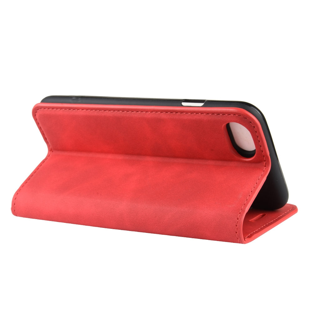 For iPhone 8 / 7 Retro-skin Business Magnetic Suction Leather Case with Purse-Bracket-Chuck(Red)