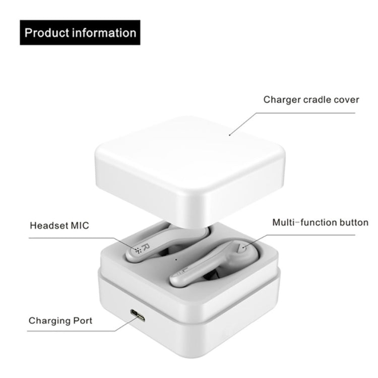 T88 Mini Touch Control Hifi Wireless Bluetooth Earphones TWS Wireless Earbuds with Charger Box(White)