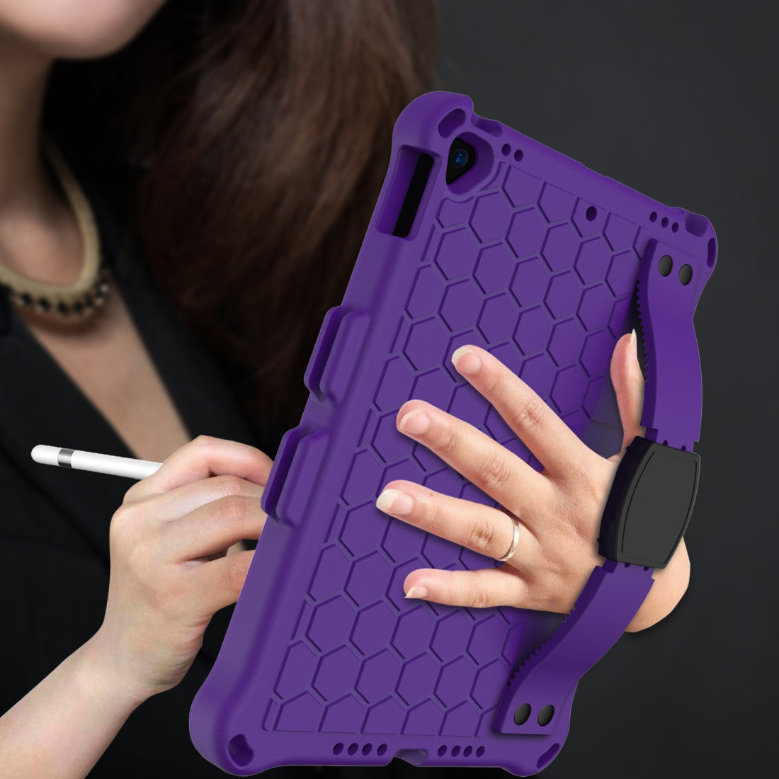 For iPad 10.2 Honeycomb Design EVA + PC Four Corner Shockproof Protective Case with Straps(Purple+Black)