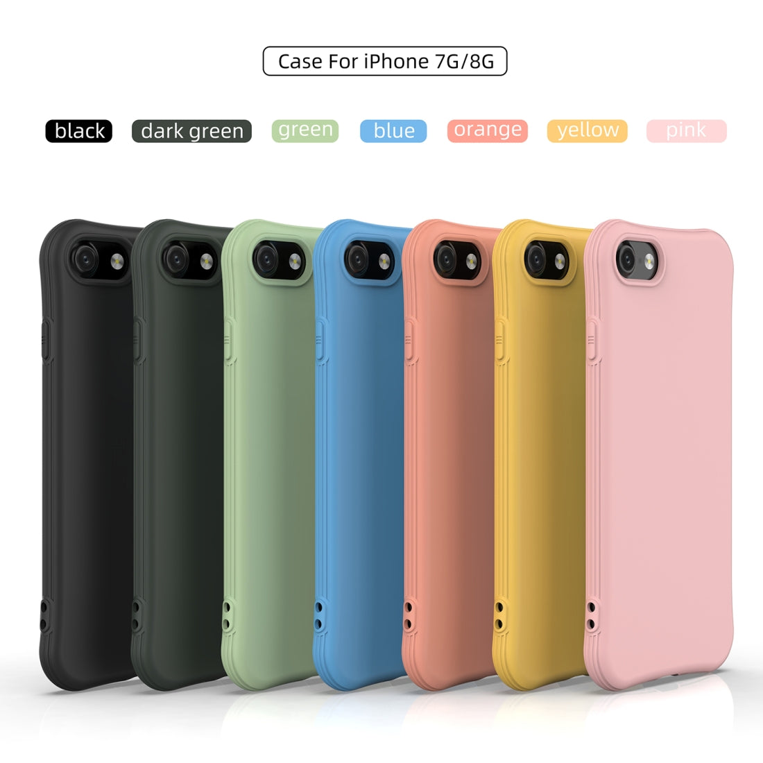 For iPhone 8 / iPhone 7 ENKAY ENK-PC007 Solid Color TPU Slim Case Cover(Pink)
