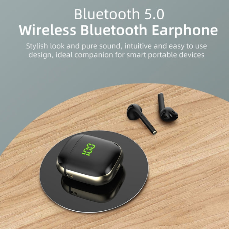 WK60 TWS Bluetooth Earphone Pop-up LED Display Wireless Sport Headphone 5D Stereo Headsets, Support Wireless Charging(Black+Gold)
