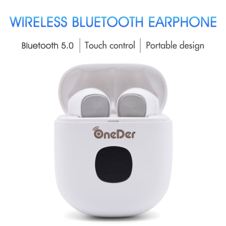 Oneder W16 TWS Bluetooth 5.0 Wireless Bluetooth Earphone with Charging Box, Support HD Call & LED Display Battery(Pink)