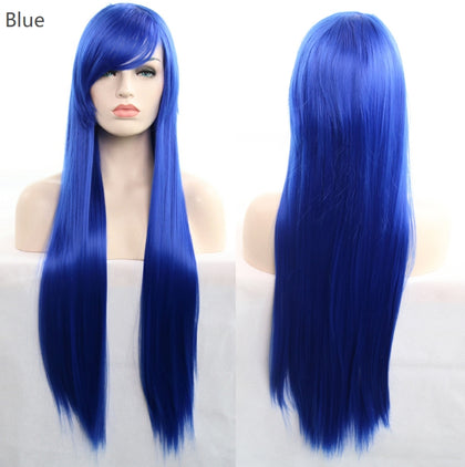 3 PCS Anime Cosplay Role Playing Color Wig COS Harajuku Style 80cm Long Straight Hair(Silver)