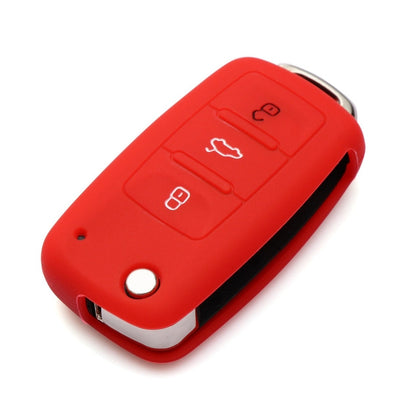 2 PCS Silicone Car Key Cover Case for Volkswagen Golf(Red)