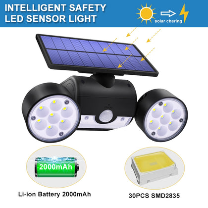 30 LEDs Solar Light Dual Head Solar Lamp PIR Motion Sensor Spotlight Waterproof Outdoor Adjustable Angle Lights