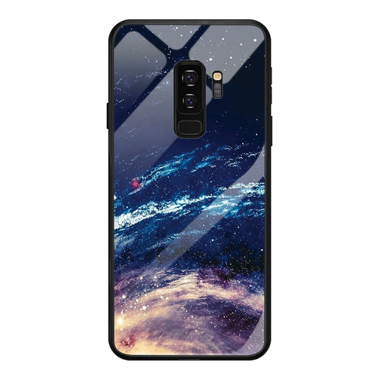 For Galaxy S9 Plus Mobile Phone Cover Glass Painted Soft Case Edge TPU Mobile Cover Case(Cloud Sea)