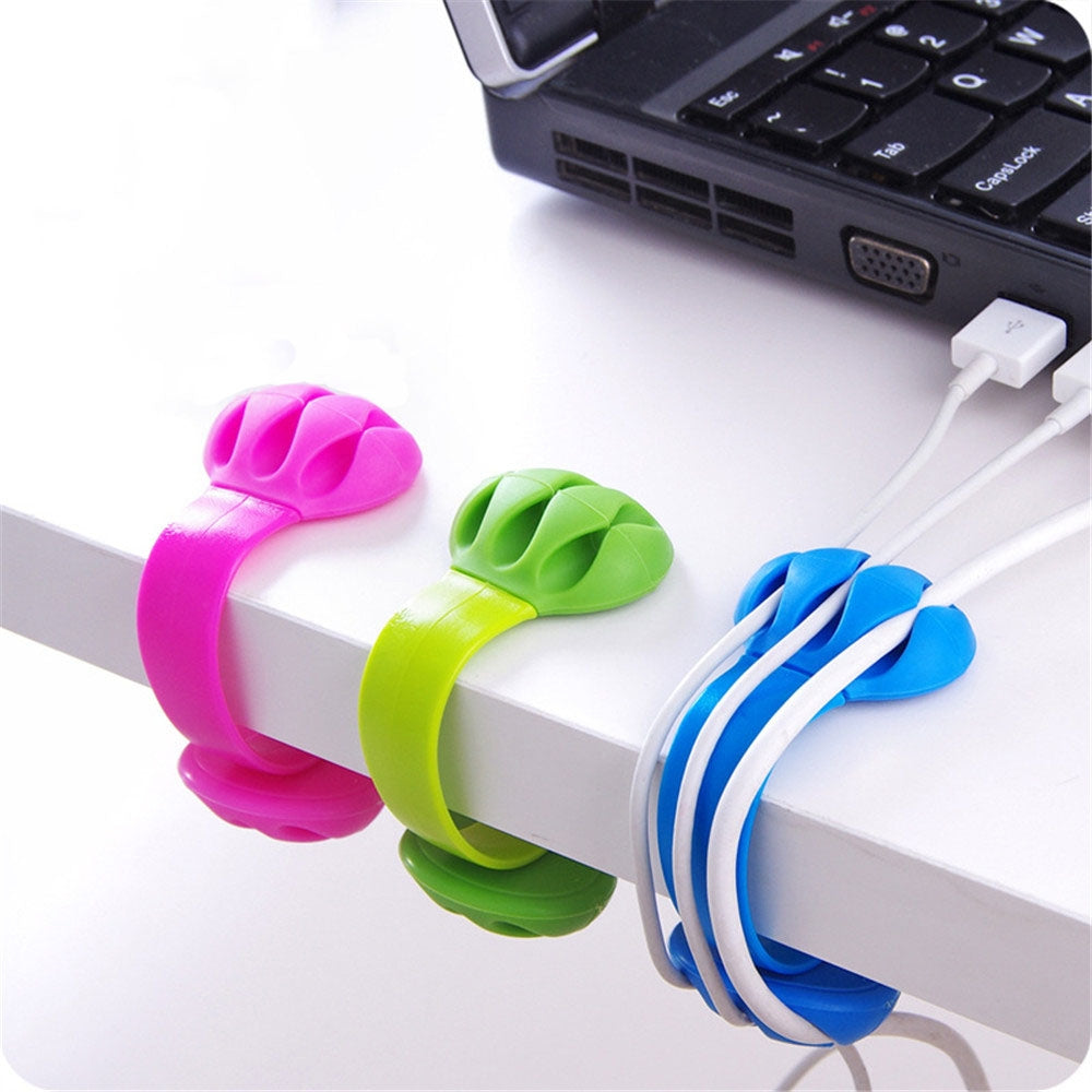 3 PCS Desktop Plug Wire Finishing Fixing Clip Winder Clip Cable Organizer(Black)