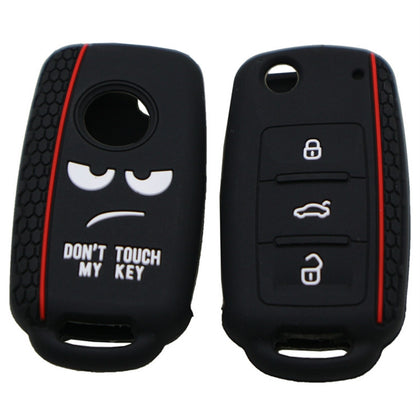 Do not Touch My Key Style Silicone Car Key Cover for Volkswagen Jetta Polo Passat Skoda Tiguan Golf(Black)