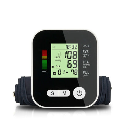Arm Type Home Electronic Automatic Hypertension Measuring Instrument Sphygmomanometer(Black)