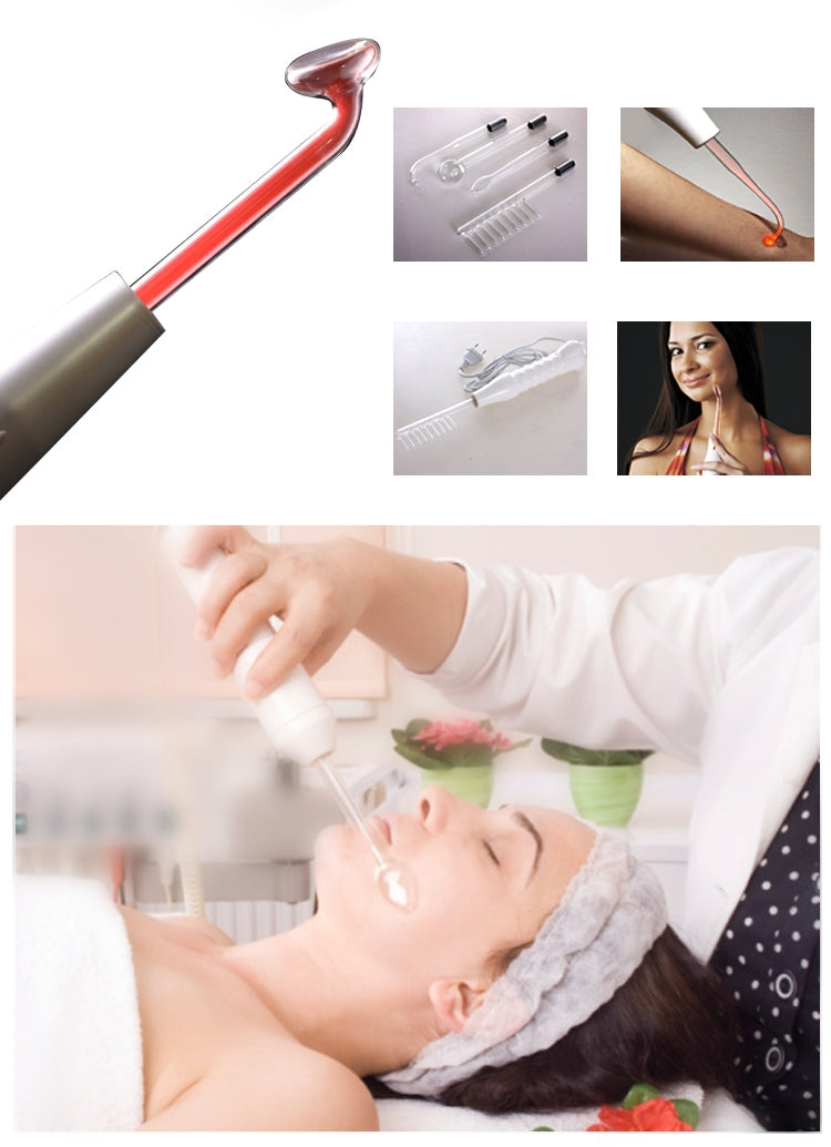 Replacement Electrotherapy Wand Glass Tube High Frequency Bactericidal Tag Spot Acne Remover Hair Facial Body Spa Beauty Care(US Plug)