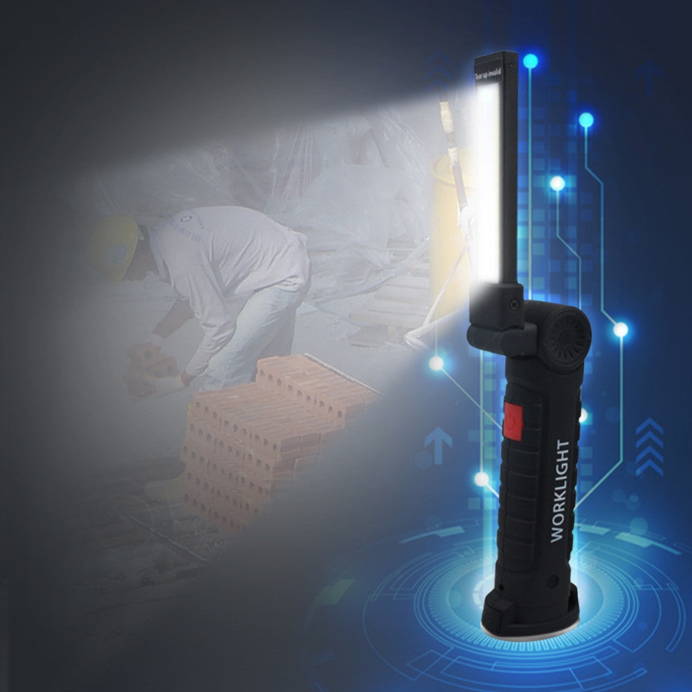 Handheld Movable Work Lights USB Charging Multi-functional and Folding Emergency Lights, Body Color:Black, size:14.8 x 4.7cm