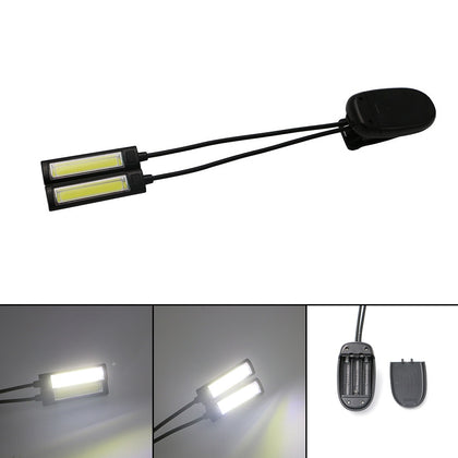Portable Dual Flexible Arms COB LED Clip Camping Light Reading Desk Laptop Music Stand Lamp One head